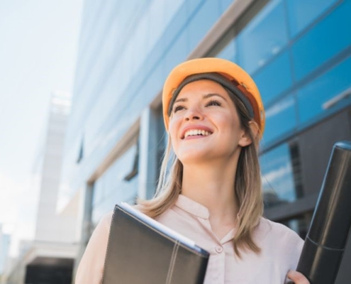 woman at construction site